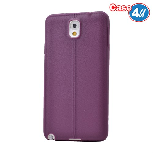 Case 4U Samsung Galaxy Note 3 Desenli Silikon Kılıf Mor
