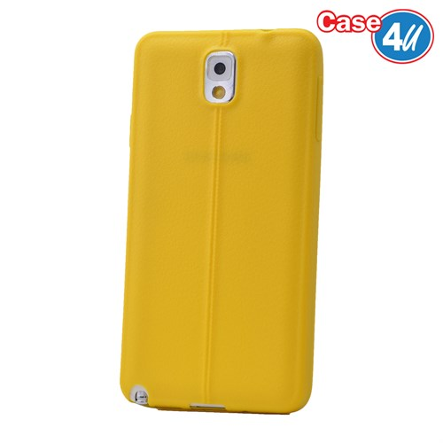 Case 4U Samsung Galaxy Note 3 Desenli Silikon Kılıf Sarı