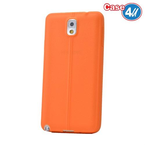 Case 4U Samsung Galaxy Note 3 Desenli Silikon Kılıf Turuncu