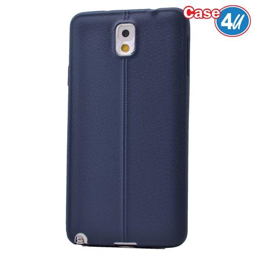 Case 4U Samsung Galaxy Note 3 Desenli Silikon Kılıf Lacivert