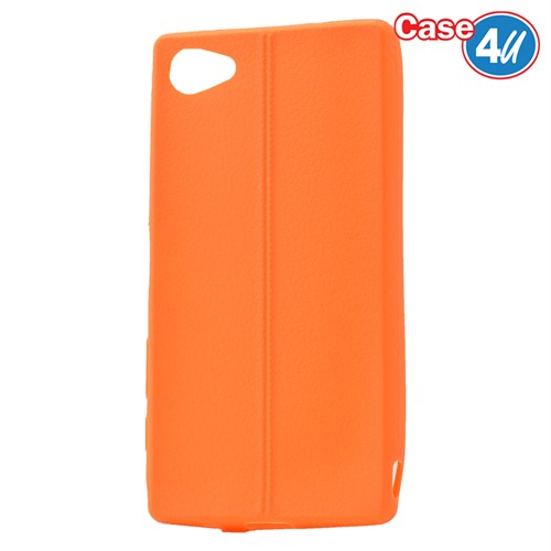 Case 4U Sony Xperia Z5 Compact Desenli Silikon Kılıf Turuncu