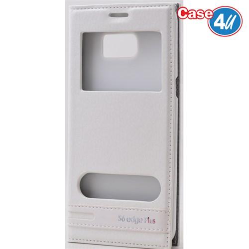 Case 4U Samsung Galaxy S6 Edge Plus Pencereli Kapaklı Kılıf Beyaz