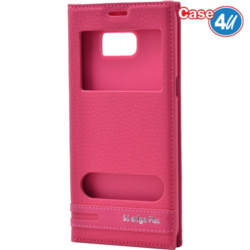 Case 4U Samsung Galaxy S6 Edge Plus Pencereli Kapaklı Kılıf Pembe