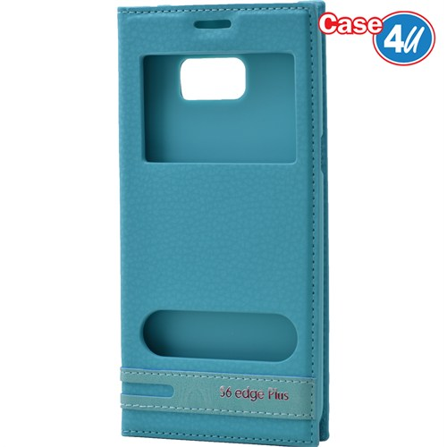 Case 4U Samsung Galaxy S6 Edge Plus Pencereli Kapaklı Kılıf Mavi