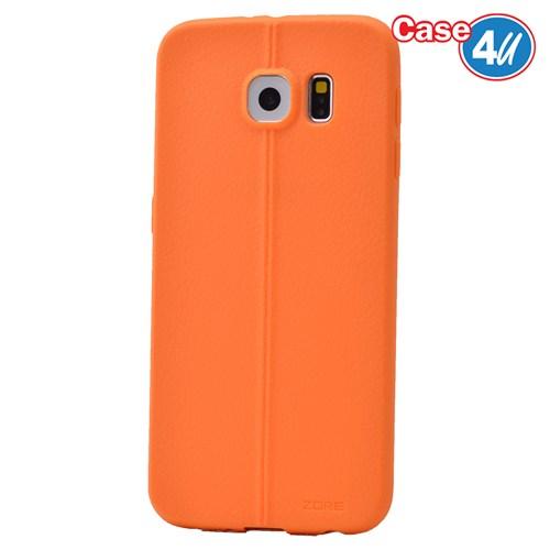 Case 4U Samsung Galaxy S6 Desenli Silikon Kılıf Turuncu