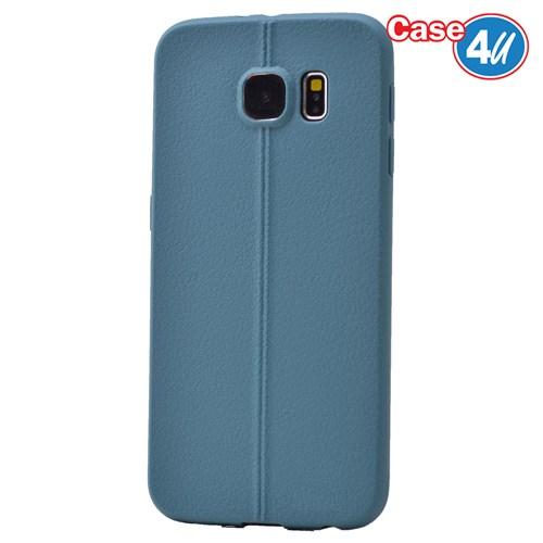 Case 4U Samsung Galaxy S6 Desenli Silikon Kılıf Koyu Mavi