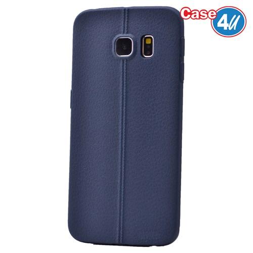 Case 4U Samsung Galaxy S6 Edge Desenli Silikon Kılıf Lacivert