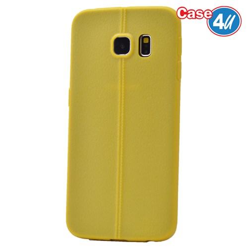 Case 4U Samsung Galaxy S6 Edge Desenli Silikon Kılıf Sarı