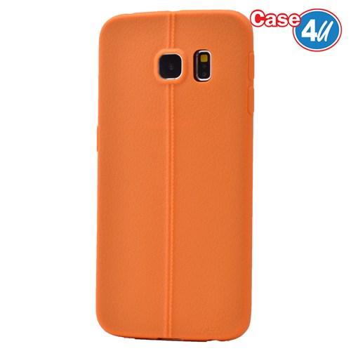 Case 4U Samsung Galaxy S6 Edge Desenli Silikon Kılıf Turuncu