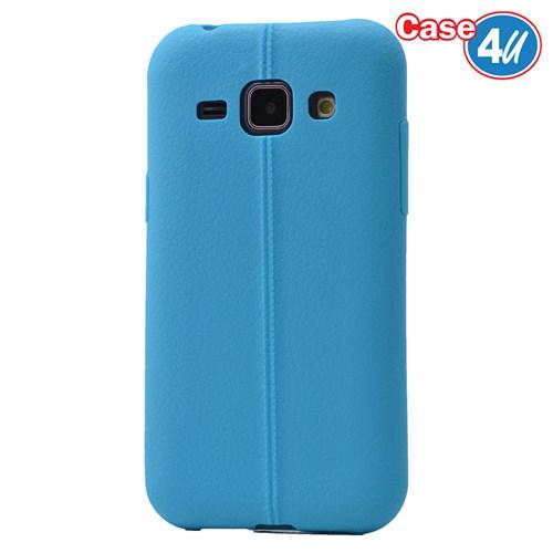 Case 4U Samsung Galaxy J1 Desenli Silikon Kılıf Mavi