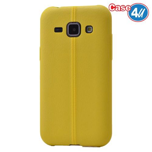 Case 4U Samsung Galaxy J1 Desenli Silikon Kılıf Sarı