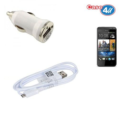 Case 4U Htc Desire 300 Araç Şarj Cihazı+Micro Usb Kablo