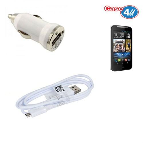 Case 4U Htc Desire 310 Araç Şarj Cihazı+Micro Usb Kablo