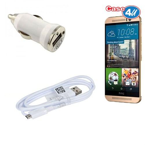 Case 4U Htc Desire M9 Araç Şarj Cihazı+Micro Usb Kablo