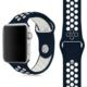 Case 4U Apple Watch 42mm Delikli Spor Kayış Lacivert/Beyaz