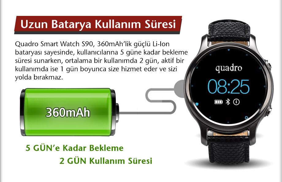 quadro, smart watch, s90, akıllı saat, pedometre, adımsayar, uyku monitörü;, remote capture