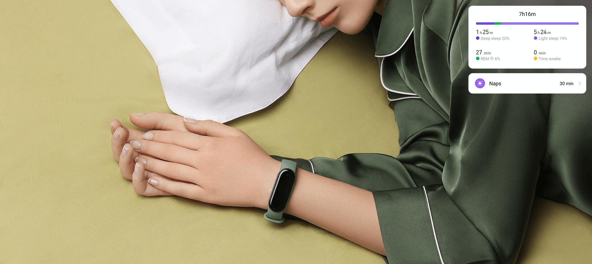 xiaomi Mi band 5 akıllı saat bileklik uyuyan kadın yatak yastık