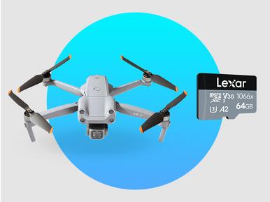DJI Mini 2 Fly More Combo alana Lexar 64GB Professional hafıza kartı hediye
