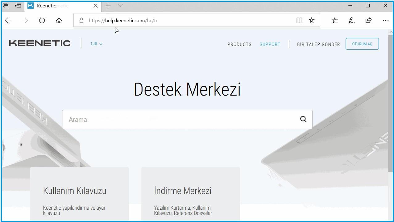Keenetic Web Sayfası Destek