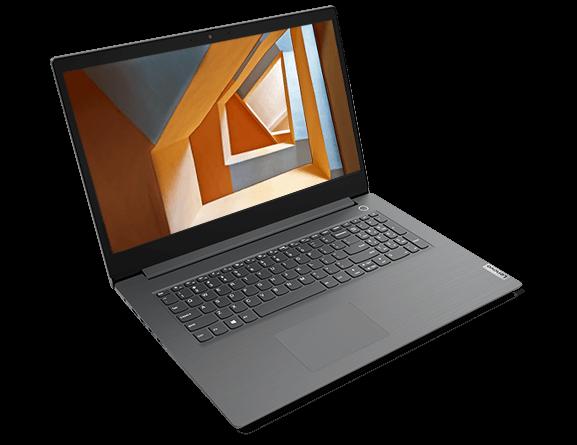 Lenovo V17 dizüstü bilgisayarın önden görünümü, klavye ve ekranı gösteren 90 derece açık.